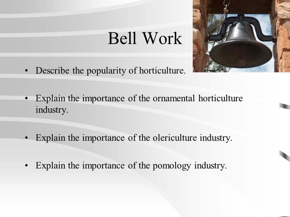 Bell Work Describe the popularity of horticulture.
