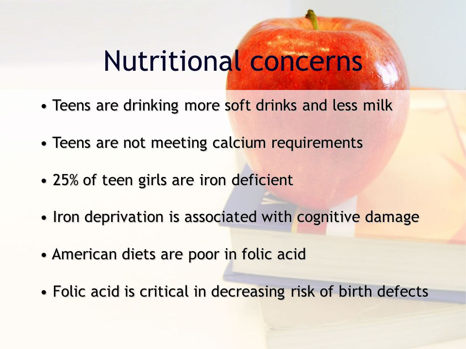 Nutritional concerns Teens are drinking more soft drinks and less milk
