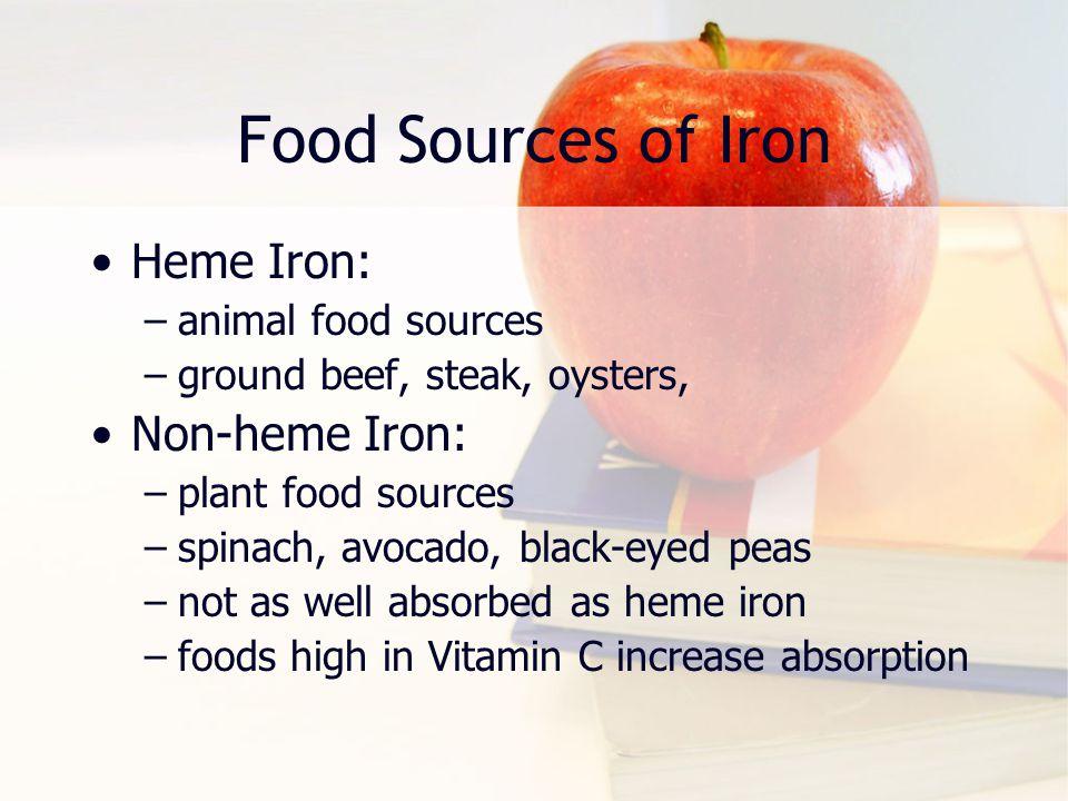 Food Sources of Iron Heme Iron: Non-heme Iron: animal food sources