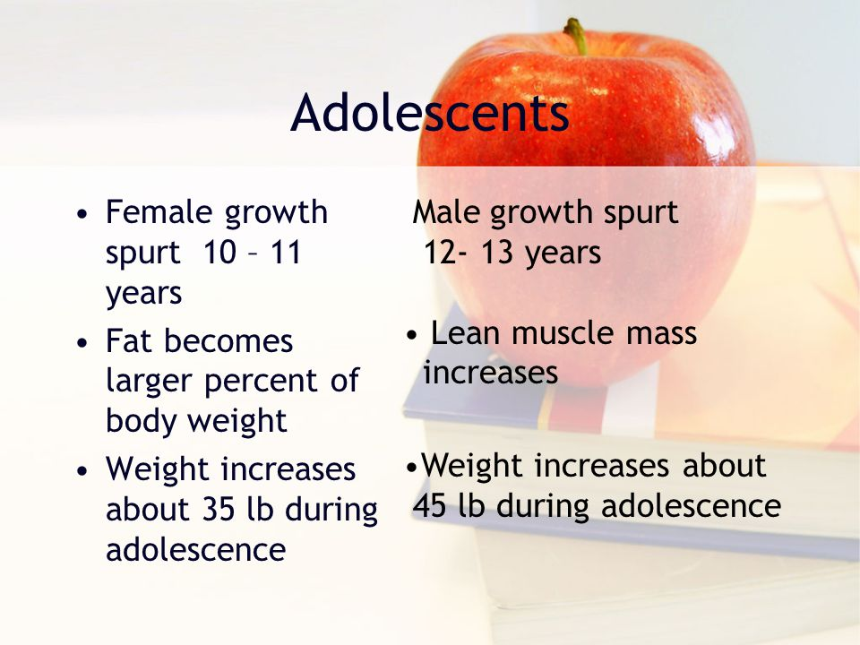 Adolescents Female growth spurt 10 – 11 years