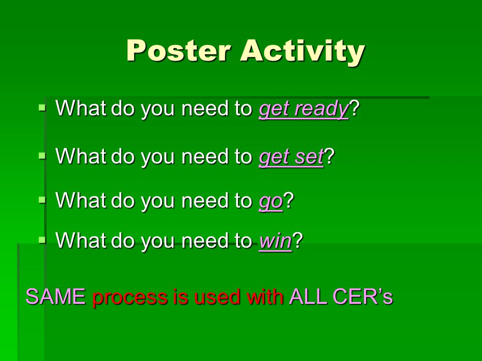 Poster Activity What do you need to get ready
