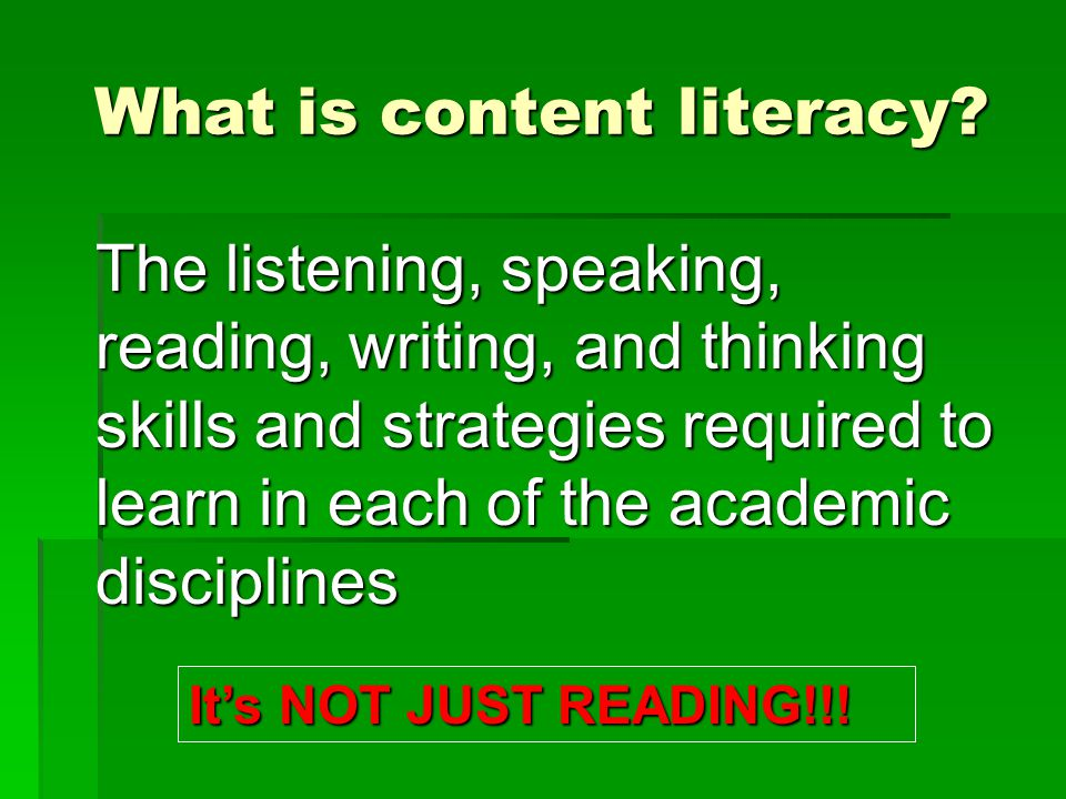 What is content literacy