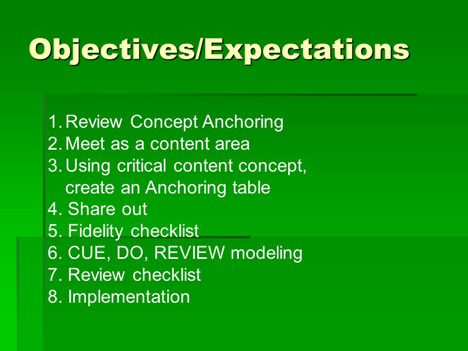 Objectives/Expectations