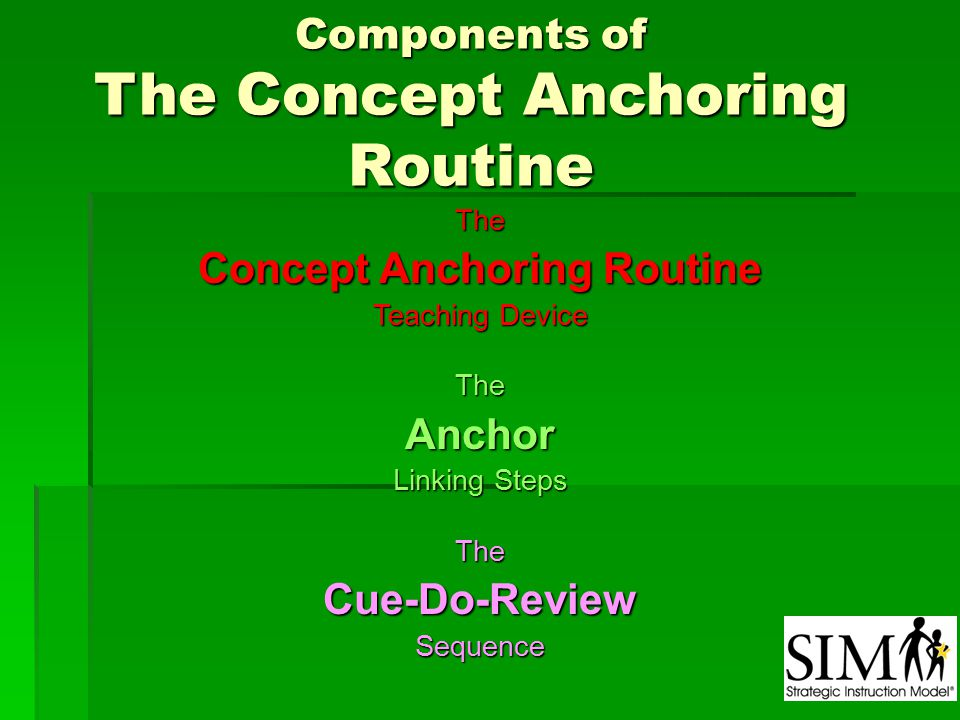 Components of The Concept Anchoring Routine