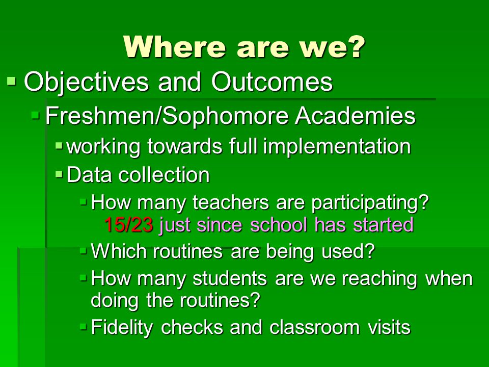 Where are we Objectives and Outcomes Freshmen/Sophomore Academies
