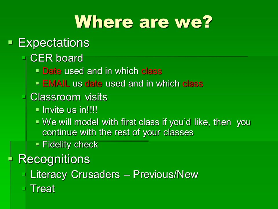 Where are we Expectations Recognitions CER board Classroom visits