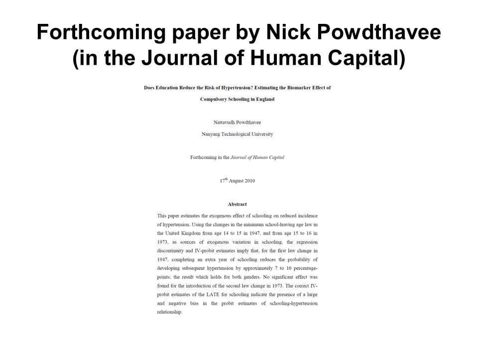 Forthcoming paper by Nick Powdthavee (in the Journal of Human Capital)