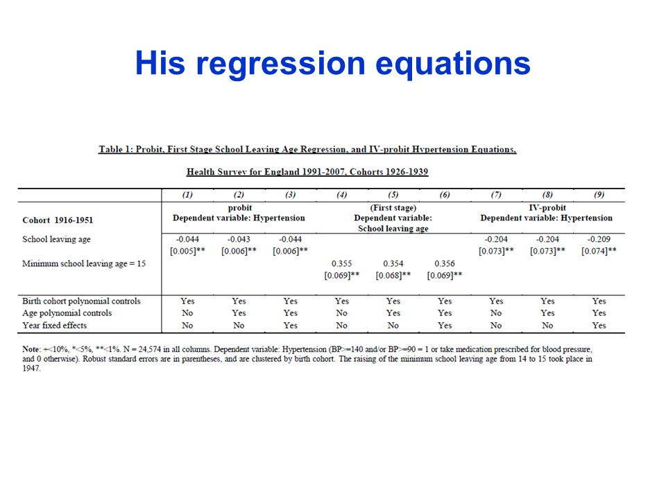 His regression equations