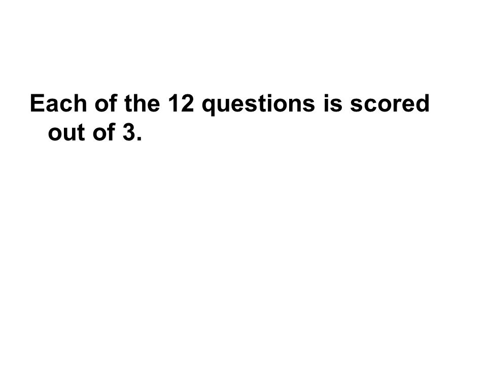 Each of the 12 questions is scored out of 3.