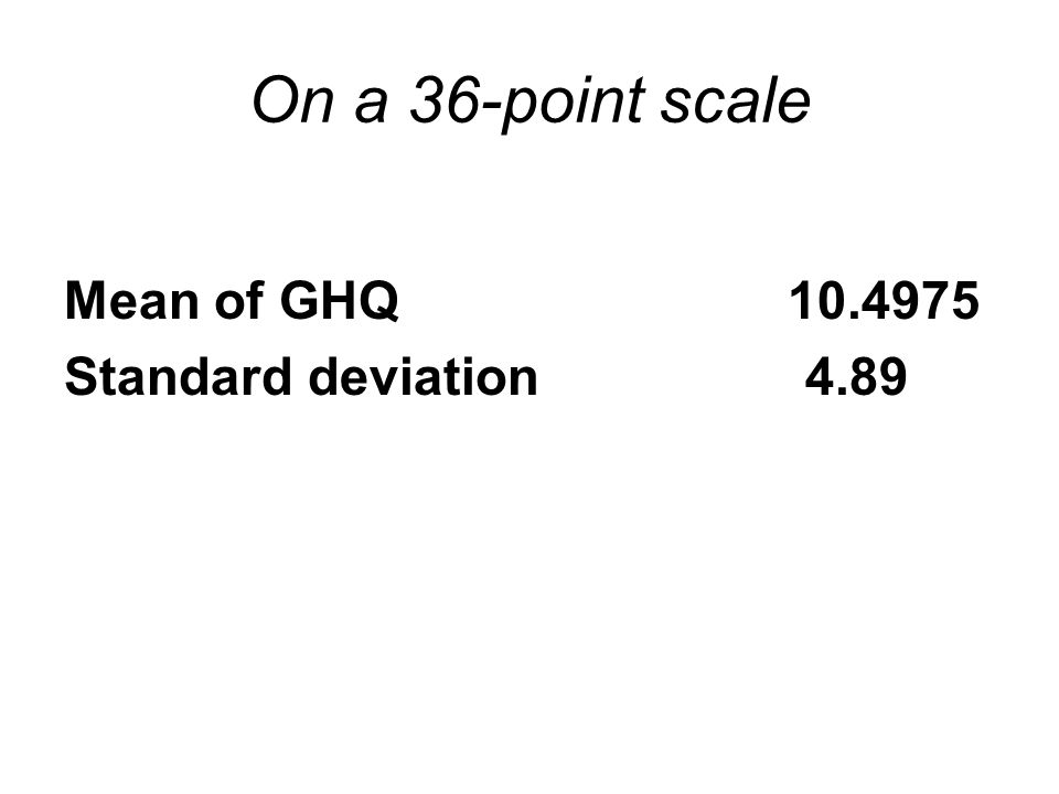 On a 36-point scale Mean of GHQ 10.4975 Standard deviation 4.89