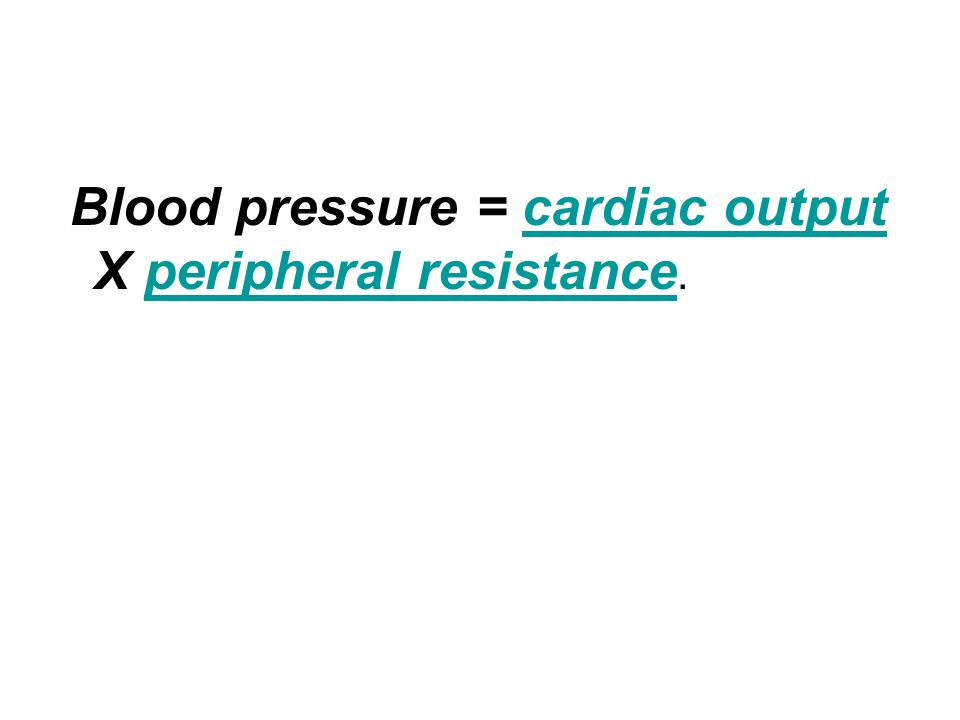 Blood pressure = cardiac output X peripheral resistance.