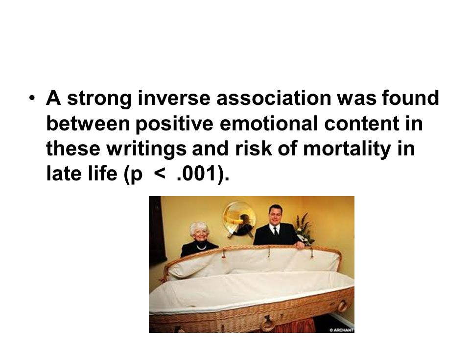 A strong inverse association was found between positive emotional content in these writings and risk of mortality in late life (p < .001).