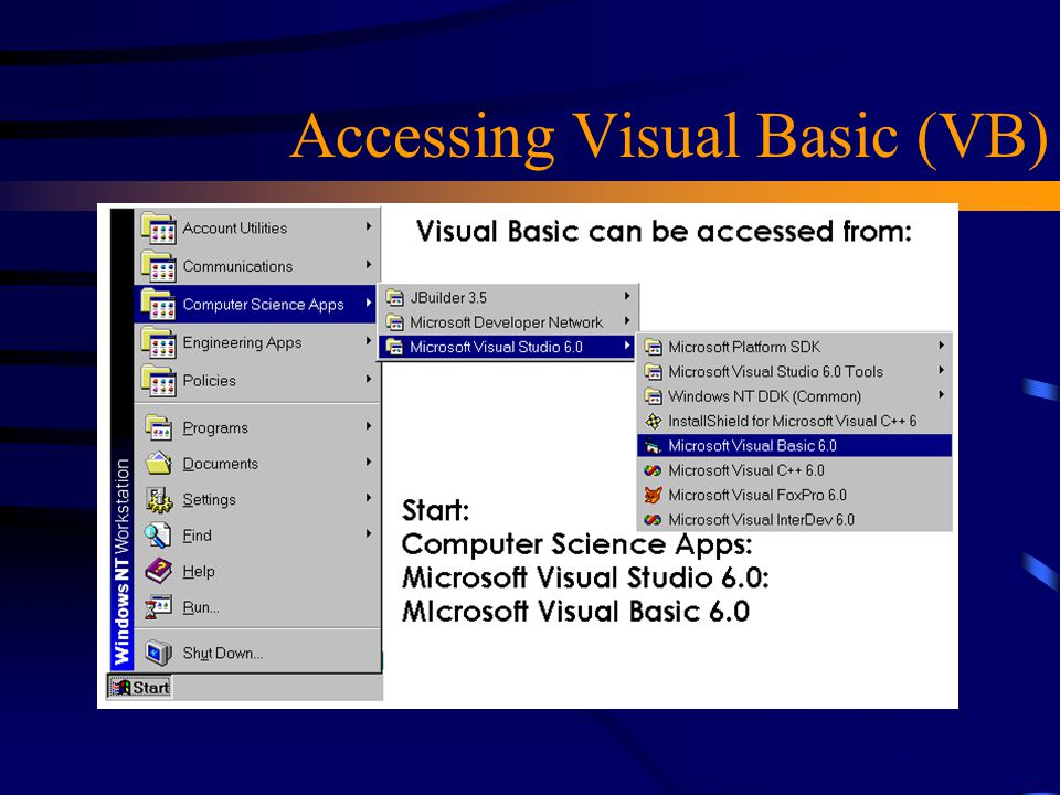 Accessing Visual Basic (VB)