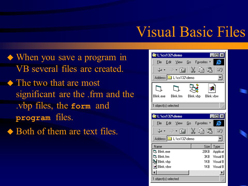 Visual Basic Files When you save a program in VB several files are created.