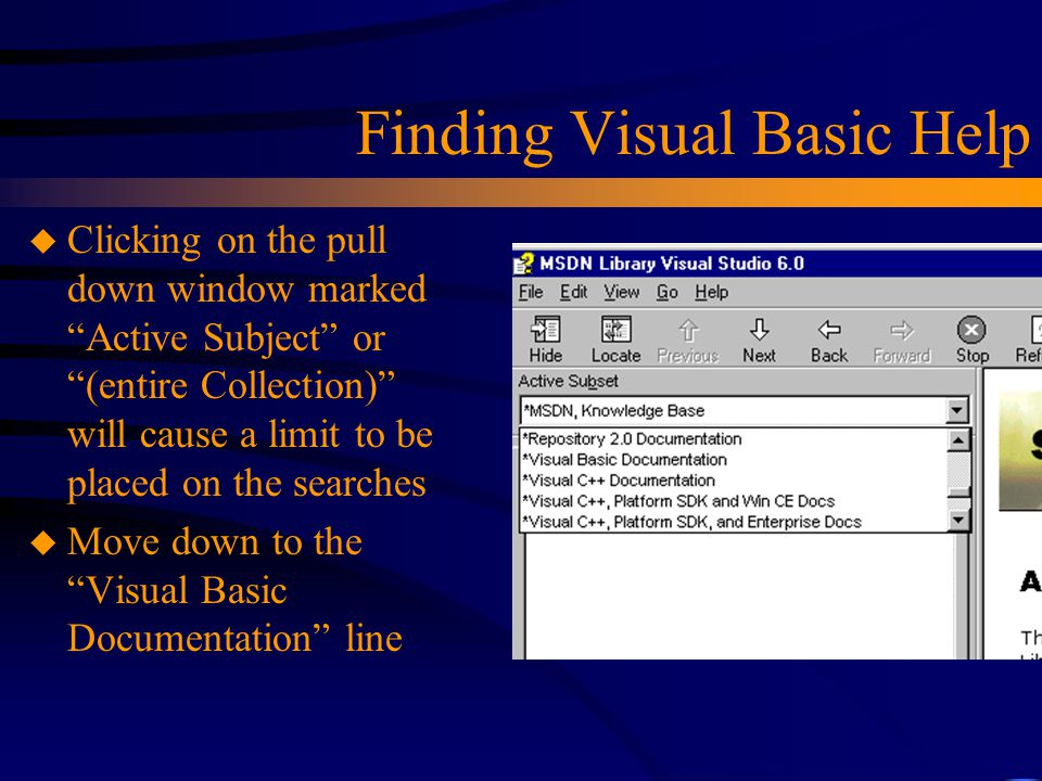 Finding Visual Basic Help