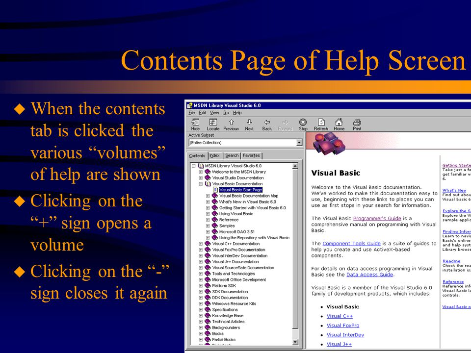 Contents Page of Help Screen