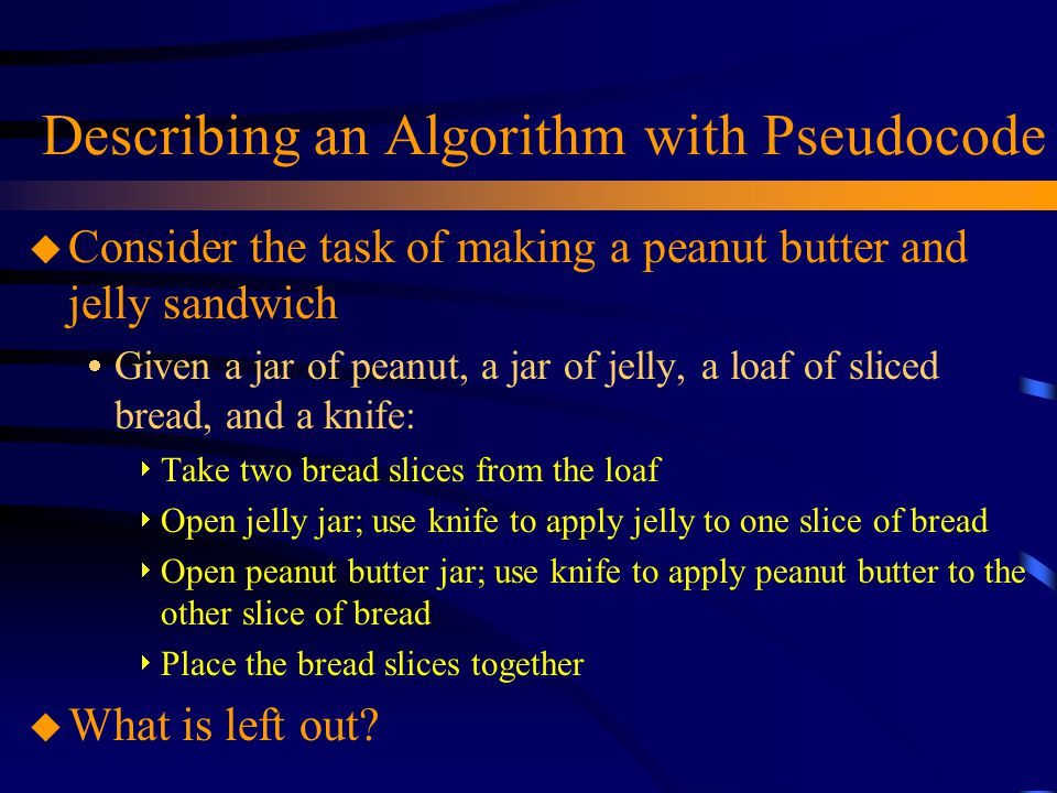 Describing an Algorithm with Pseudocode