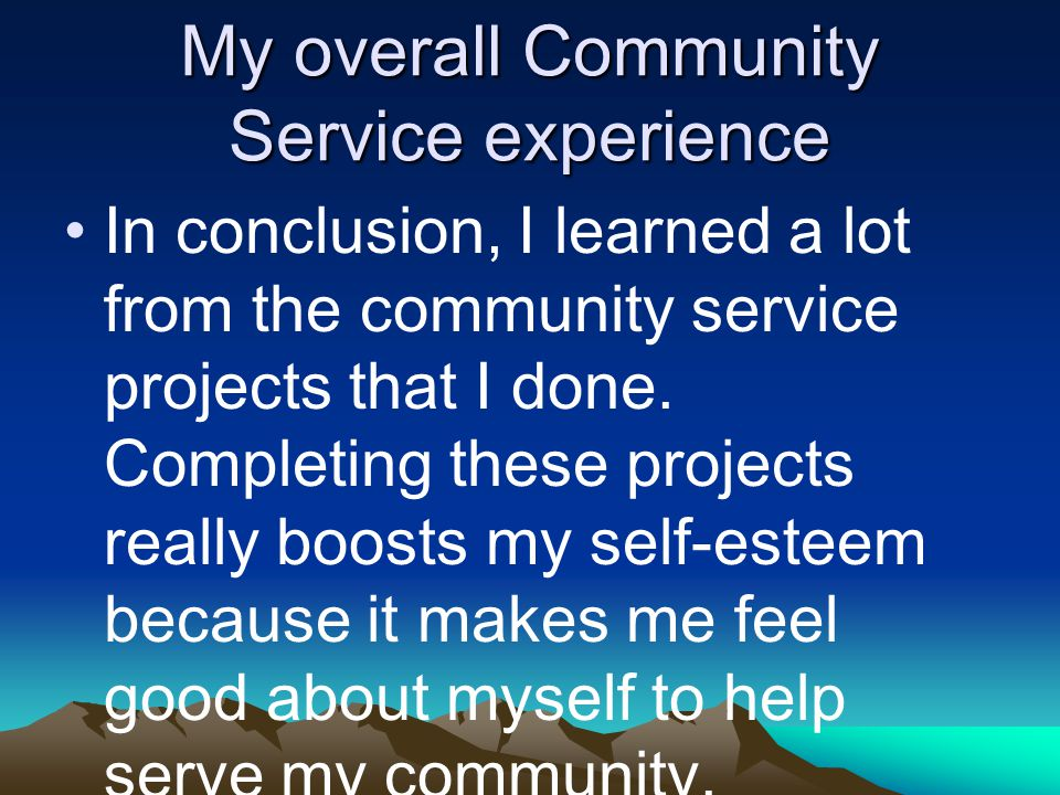 My overall Community Service experience