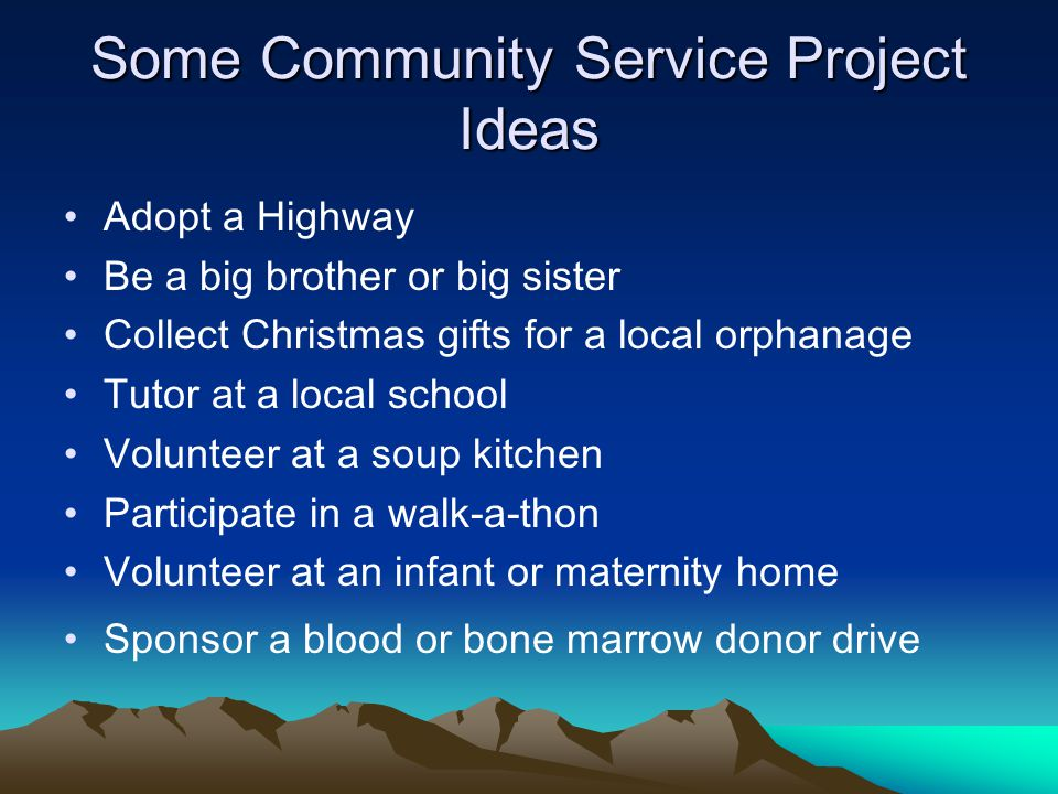 Some Community Service Project Ideas