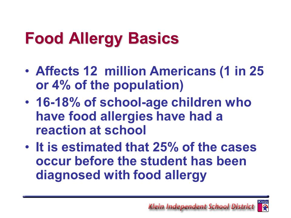 Food Allergy Basics Affects 12 million Americans (1 in 25 or 4% of the population)
