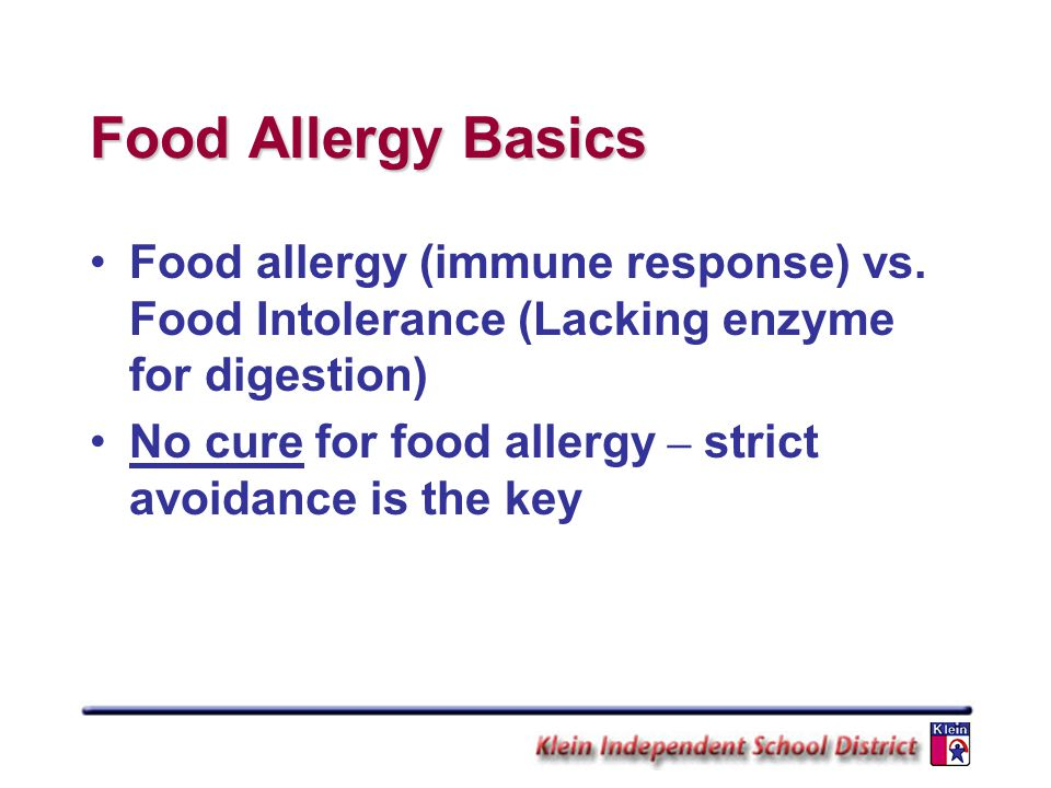 Food Allergy Basics Food allergy (immune response) vs. Food Intolerance (Lacking enzyme for digestion)
