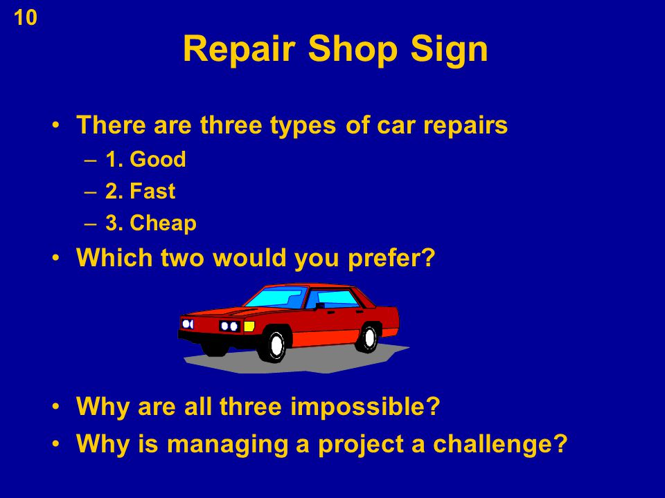 Repair Shop Sign There are three types of car repairs
