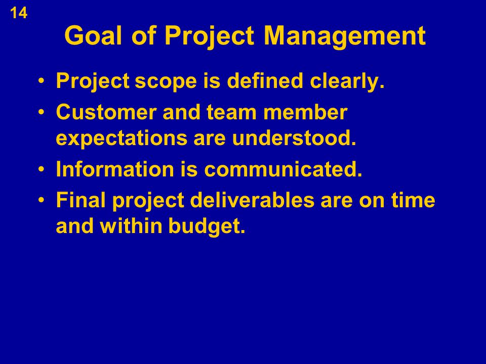Goal of Project Management