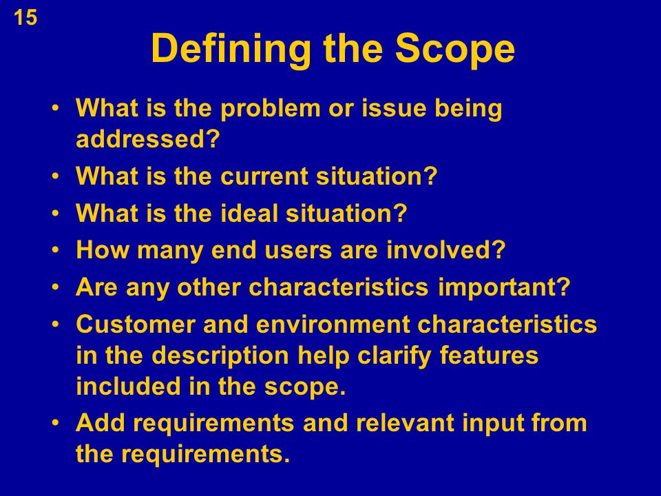 Defining the Scope What is the problem or issue being addressed