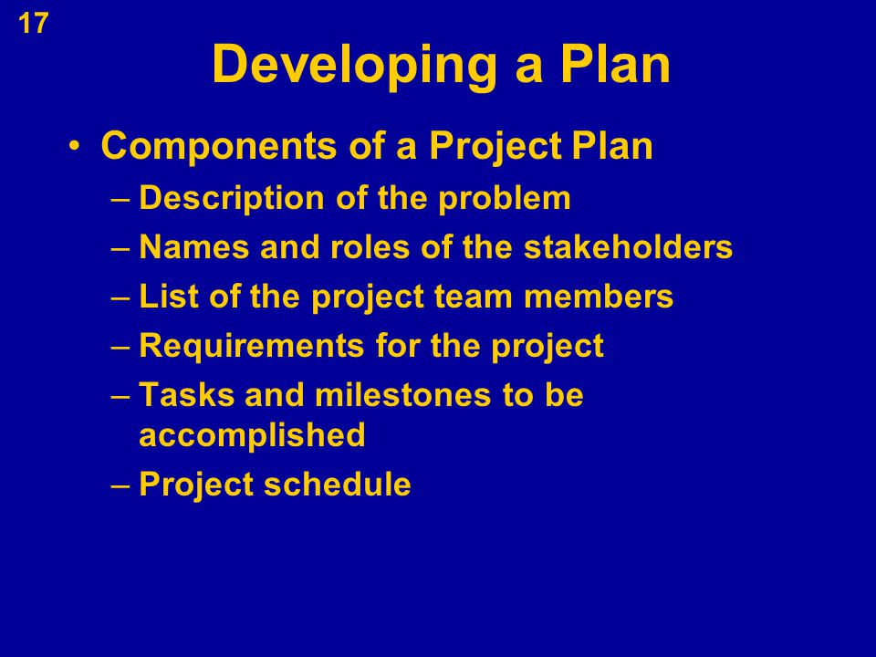 Developing a Plan Components of a Project Plan
