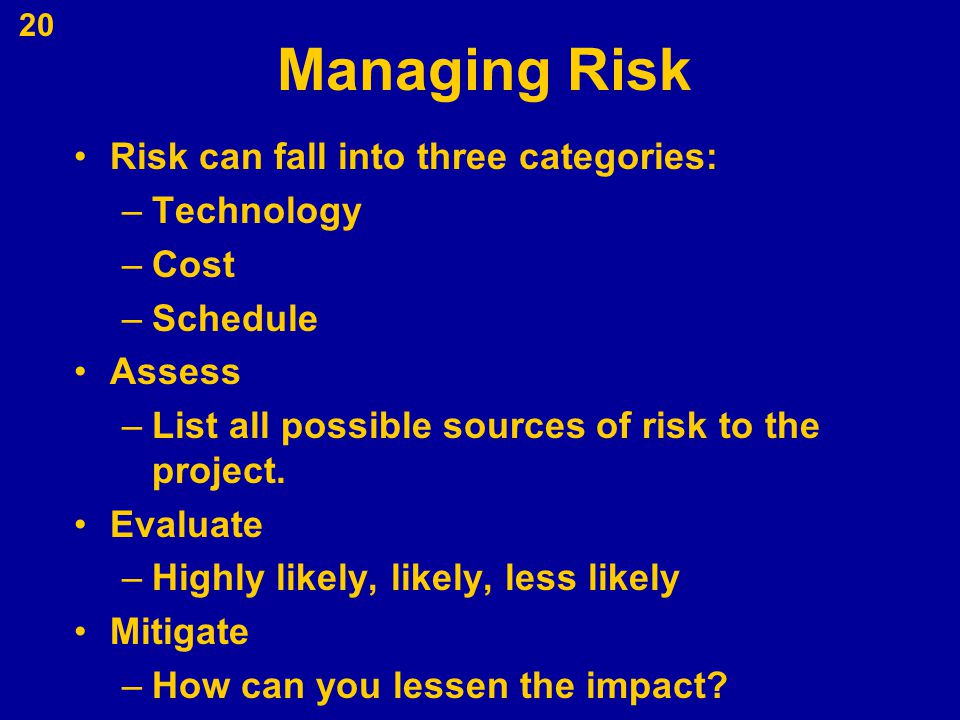 Managing Risk Risk can fall into three categories: Technology Cost