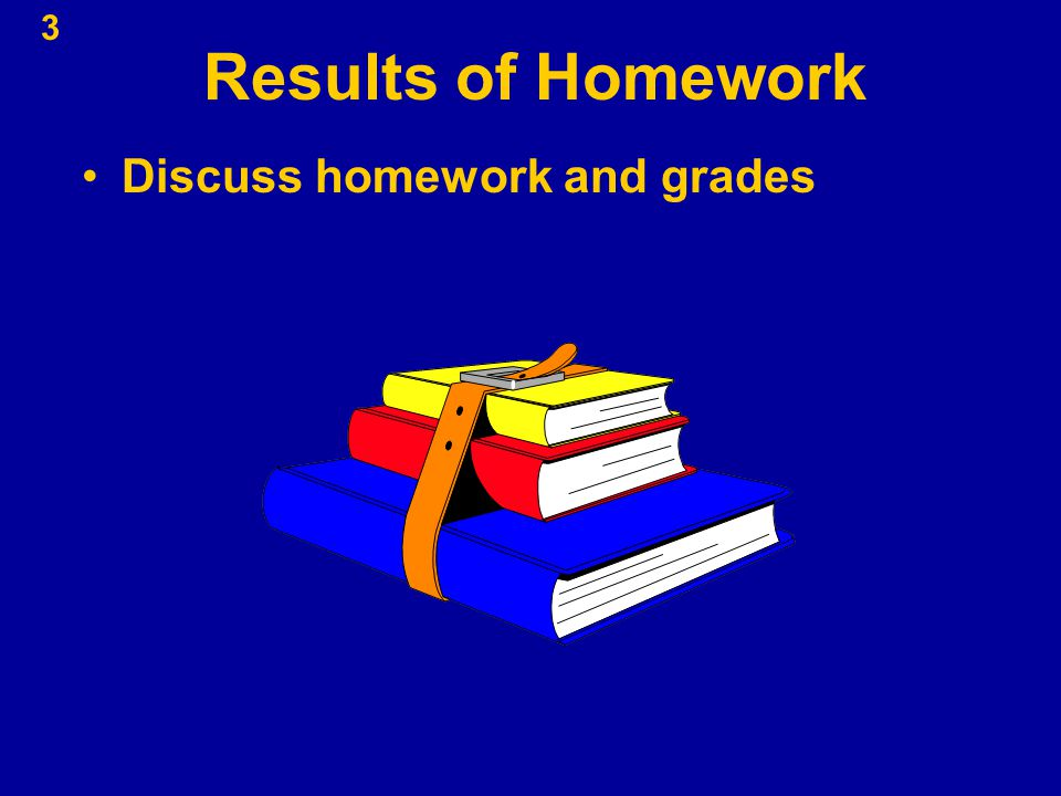Results of Homework Discuss homework and grades