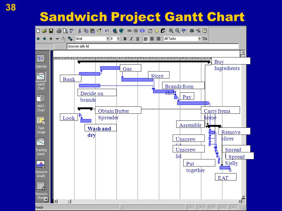 Sandwich Project Gantt Chart