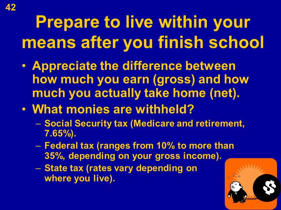 Prepare to live within your means after you finish school