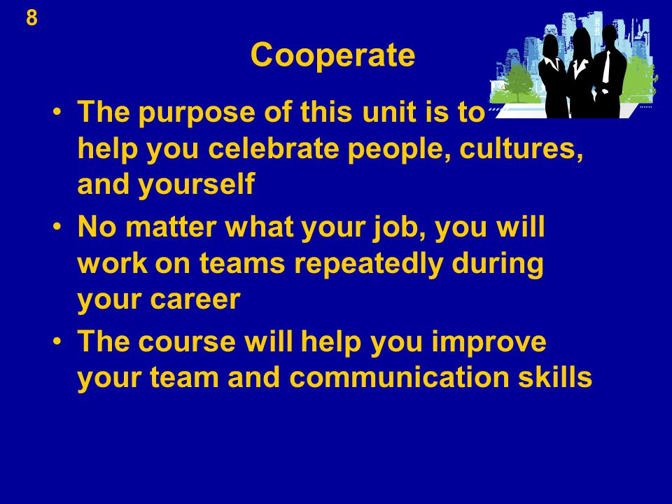 Cooperate The purpose of this unit is to help you celebrate people, cultures, and yourself.