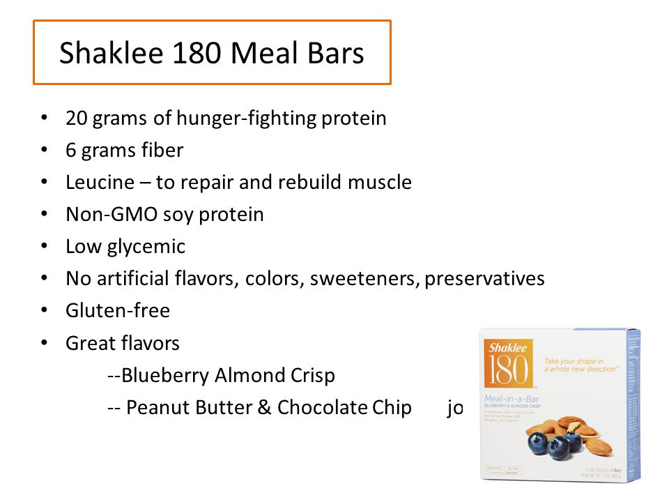 Shaklee 180 Meal Bars 20 grams of hunger-fighting protein