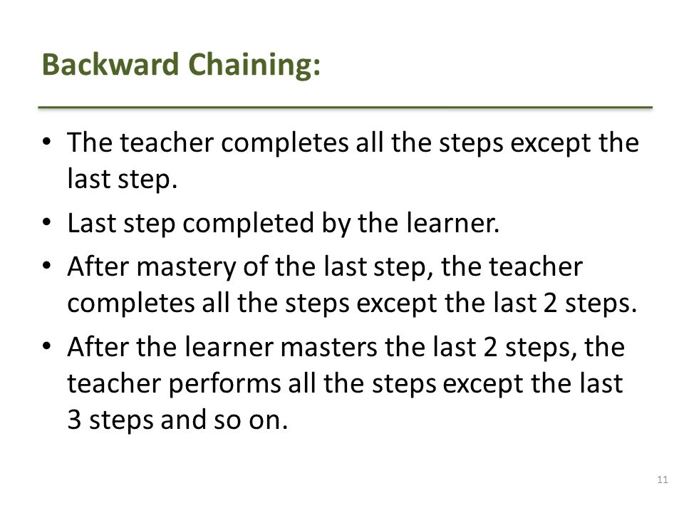 Backward Chaining: The teacher completes all the steps except the last step. Last step completed by the learner.