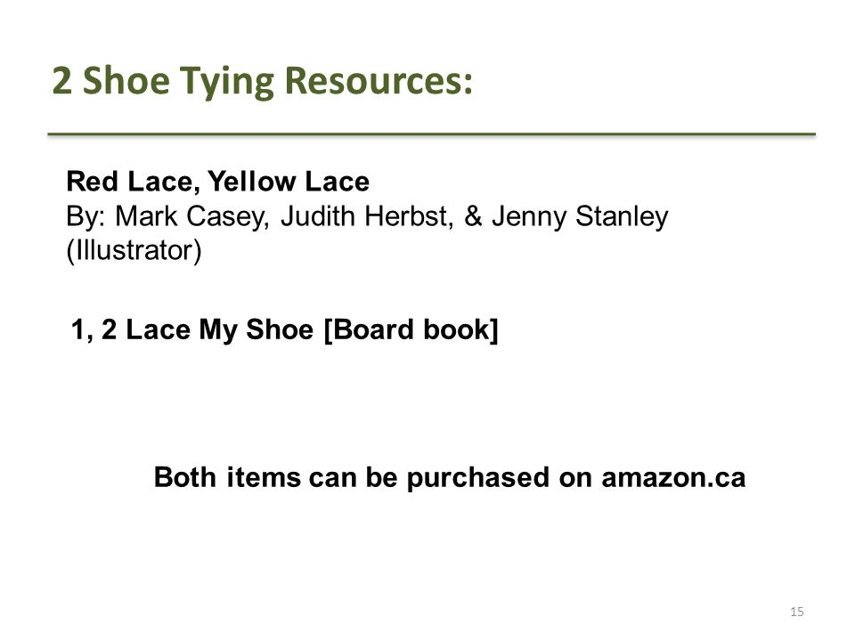2 Shoe Tying Resources: Red Lace, Yellow Lace