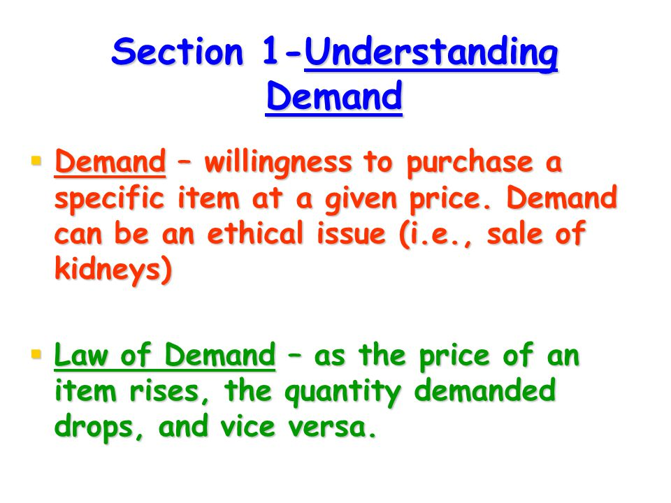 Section 1-Understanding Demand