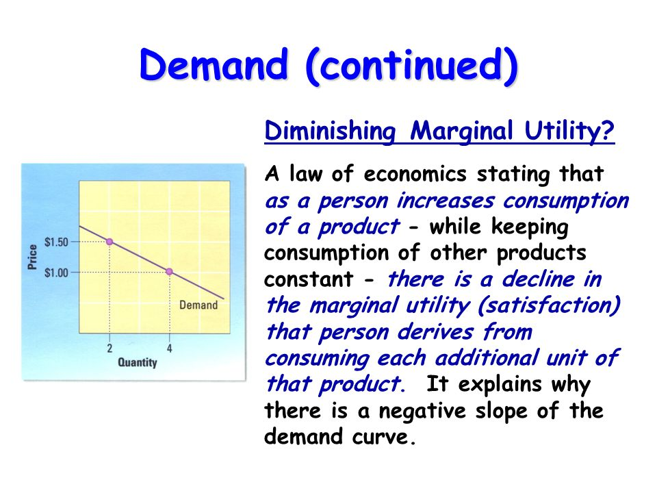 Demand (continued) Diminishing Marginal Utility