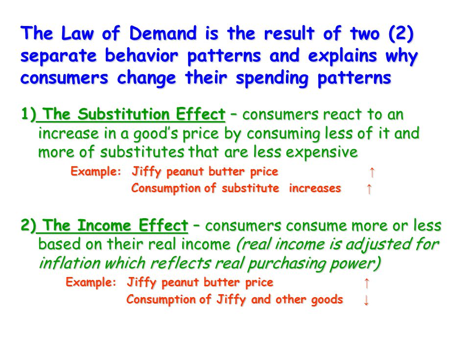 The Law of Demand is the result of two (2) separate behavior patterns and explains why consumers change their spending patterns