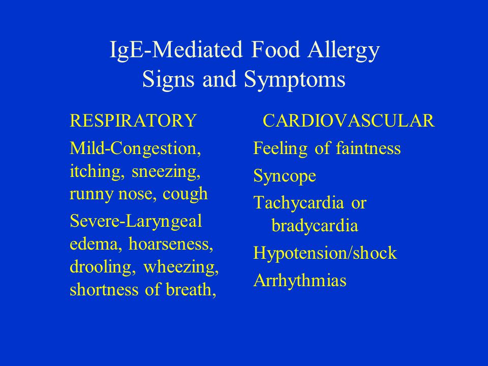 IgE-Mediated Food Allergy Signs and Symptoms