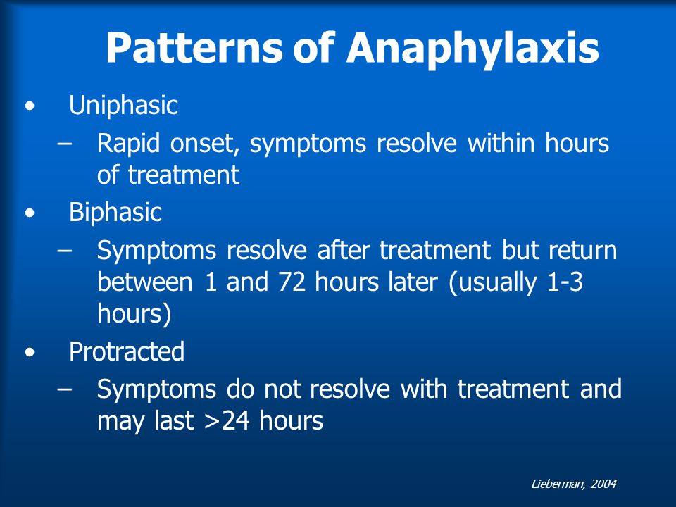Patterns of Anaphylaxis