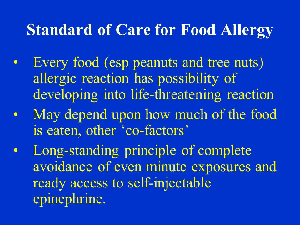 Standard of Care for Food Allergy