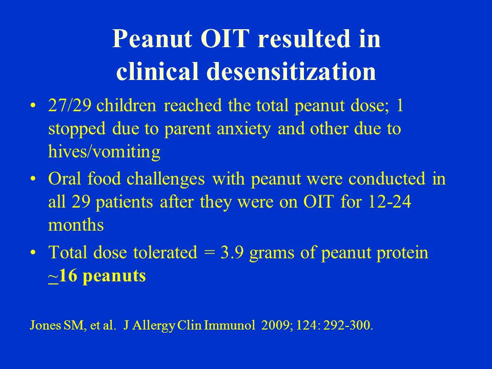 Peanut OIT resulted in clinical desensitization