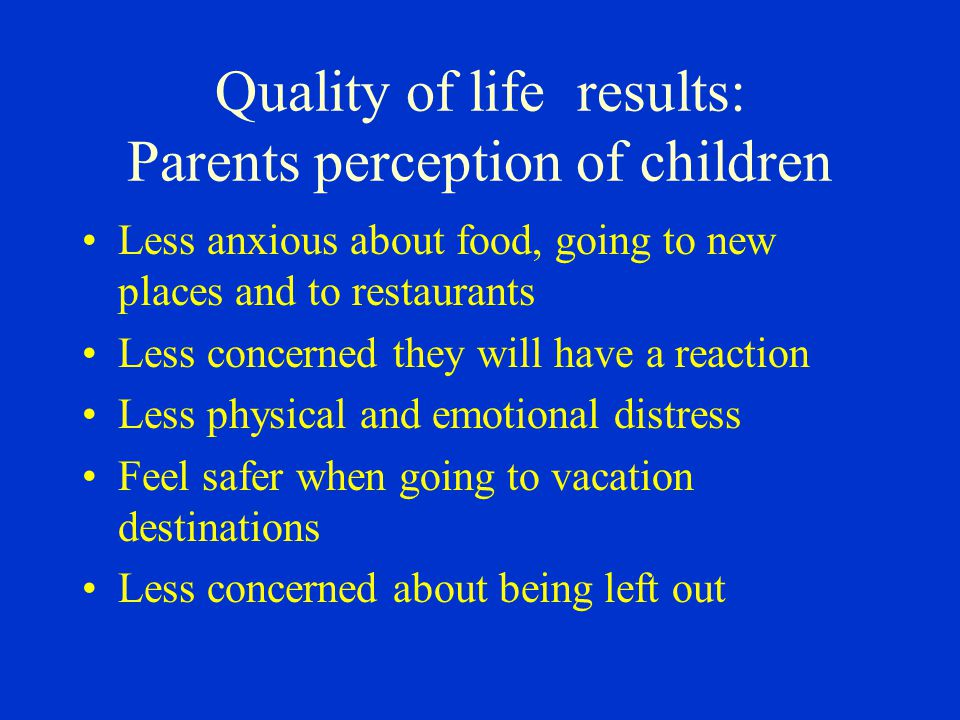 Quality of life results: Parents perception of children