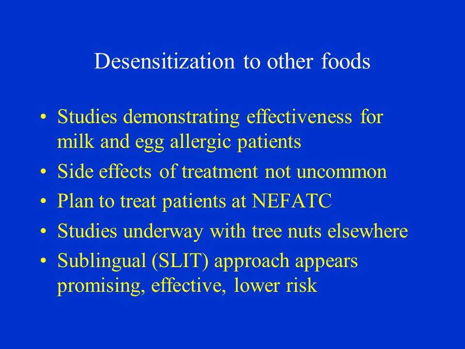 Desensitization to other foods