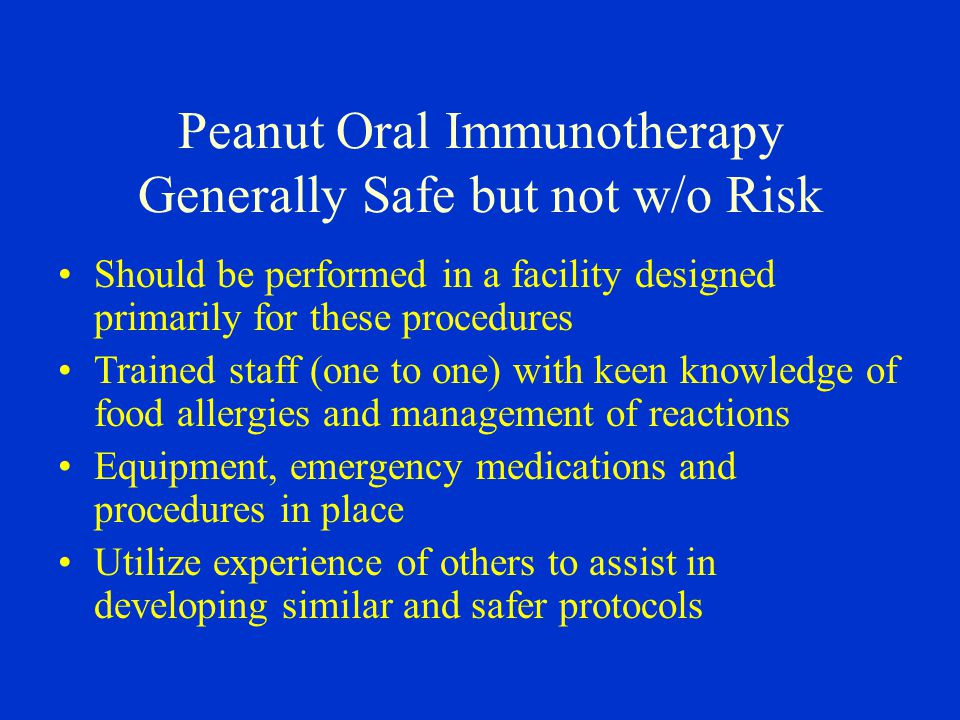 Peanut Oral Immunotherapy Generally Safe but not w/o Risk