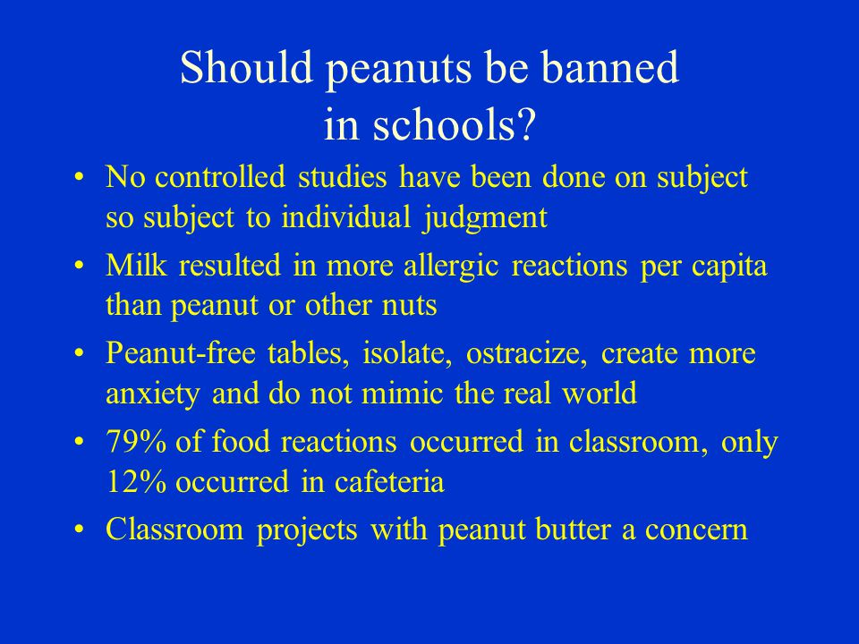 Should peanuts be banned in schools
