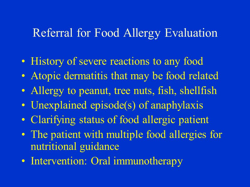 Referral for Food Allergy Evaluation