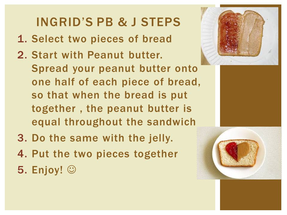 Ingrid's PB & j Steps Select two pieces of bread
